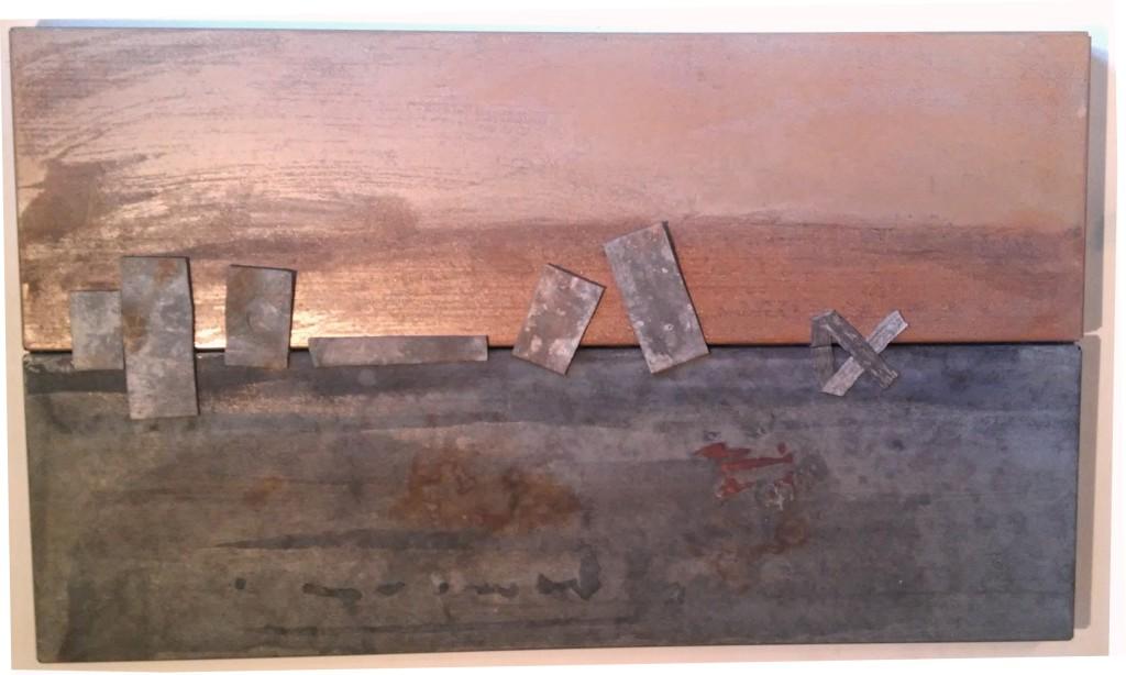 """""""Ymmortal I""""2014, (verkocht) Staal, lood L 41,5cm B 68cm D 3cm"""