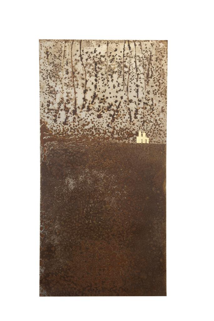Reprogress XXI, 2013, staal, bladgoud 100cm x 50cm x 5cm. (onderdeel van drieluik)