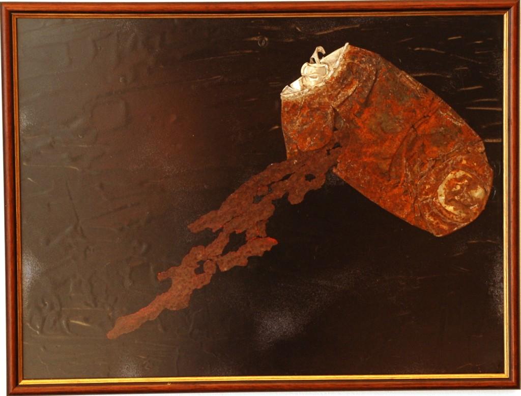 """Semiofoor XVI"" 2011, 2011. Blik, roestig staal. L 32cm, B 42cm."