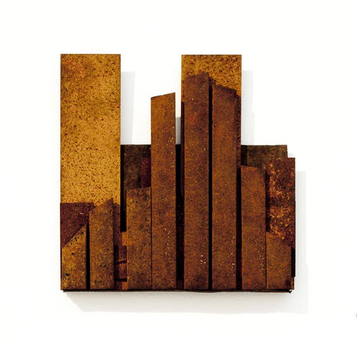 "(verkocht) ""Reprogress X"" 2012. Roestig staal, magneten. L 20.5cm, B 19cm."