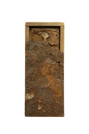 """(verkocht) """"Beschouwer XI"""" 2010. Hout, roestig staal, goud. L 38cm, B 16cm, D 7cm."""