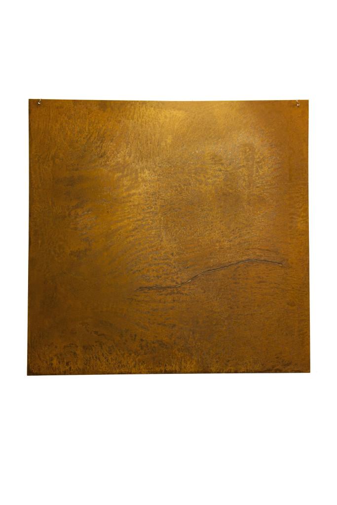 """Styx"" 2011. Roestig staal, bladgoud, magneten. L 100cm, B 100cm."