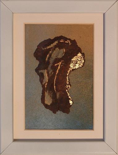 """""""Semiofoor VIII"""" 2011, (verkocht) Roestig staal, bladgoud, verf. L 30cm, B 24cm."""