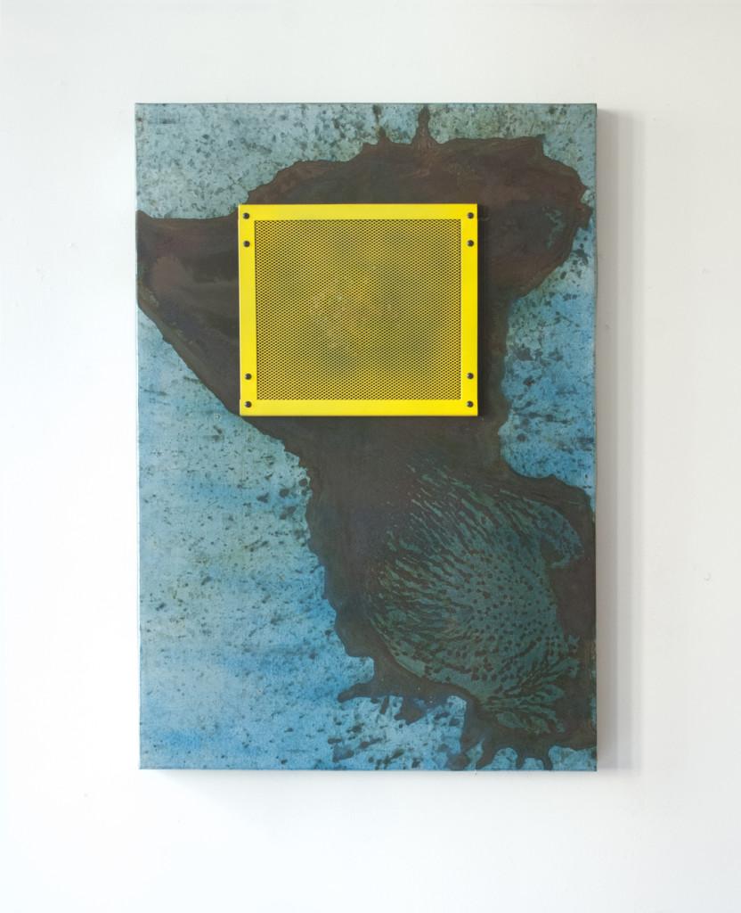 Stratugem III, 2016. Staal, was, magneten, lak. L 60cm B 90cm D 6cm